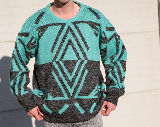 Vintage Pullover Sweater / Medium/Large Men's/Women's Top with Crop Circle Design / Diamond / Triangle Geometric Pattern  Green Gray