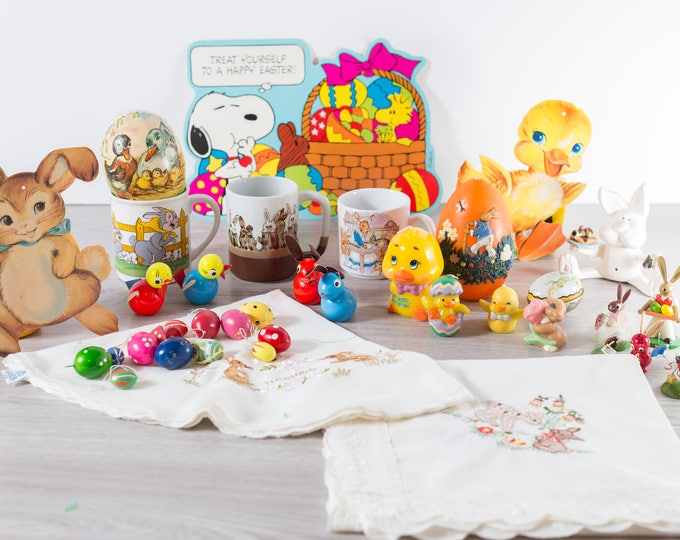 Vintage Easter Decor / Lot of Easter Eggs, Candles, Cloths, Mugs, Wood Ornaments, etc.