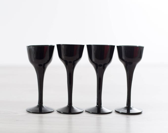 Scandinavian Black Aperitif Glasses / Set of 4 Royal Krona Älghult Glasbruk Made in Sweden Port Cocktail Glassware Barware Swedish Art Glass