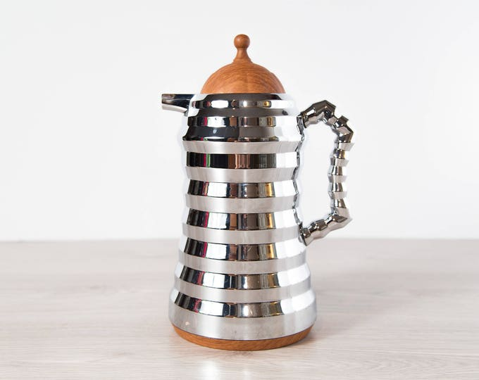 Vintage Coffee Thermos / Stainless Steel Ribbed Metal Tea Thermal Pitcher / Space Age Atomic Decor