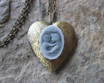 Mother and Child Cameo Bronze Heart Locket!!! High Quality - Photos, Keepsakes, Mother's Day Gift, Mother's Gift, Mother