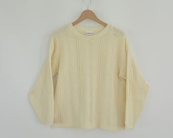 Bobbie Brooks Cable knit Sweater Crew Neck pull Over Acrylic Boxy Loose Fit Relaxed Sweater Cream Color 80's Era