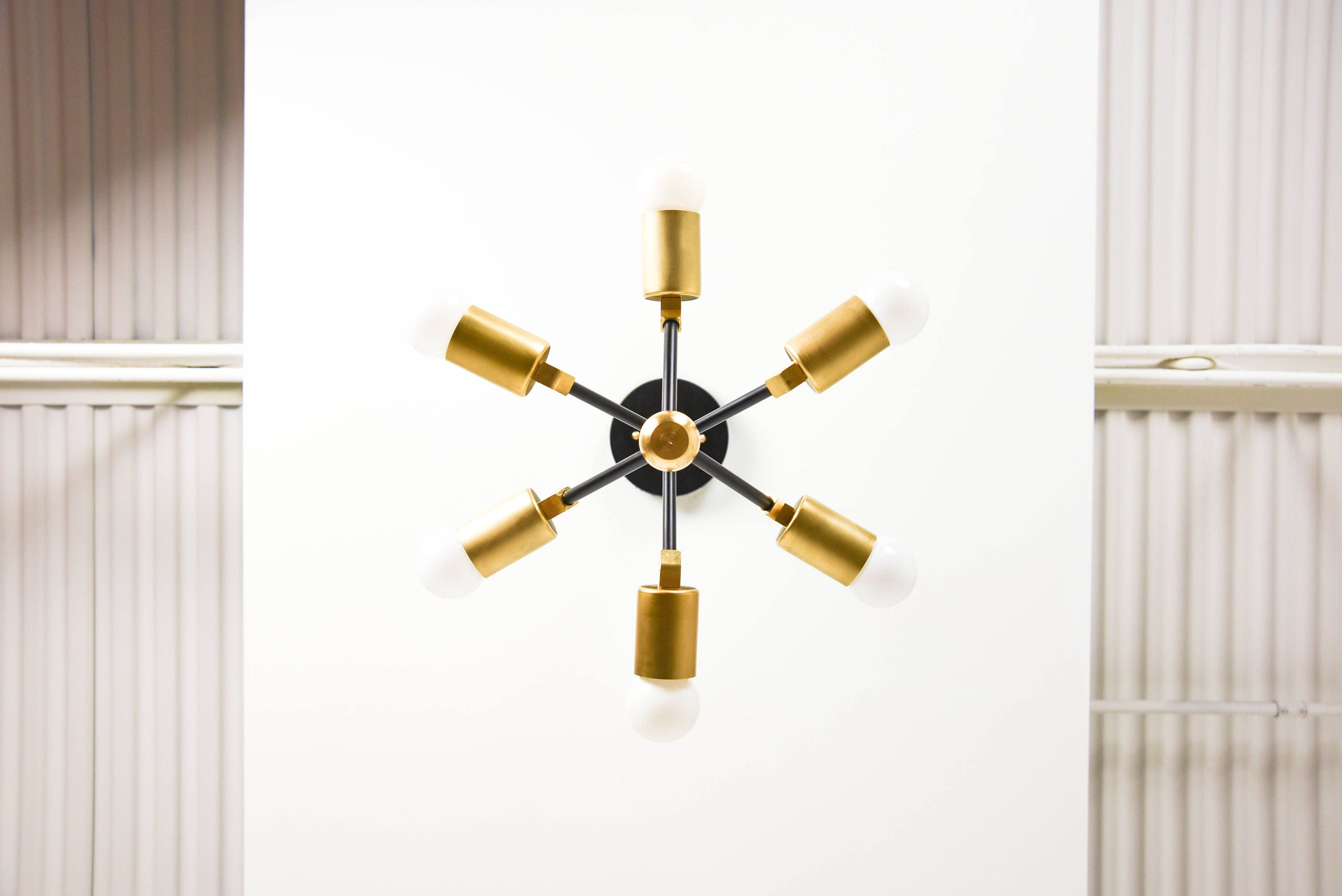 Modern Chandelier Gold 6 Arm Pinwheel Bulb Matte Black and Raw
