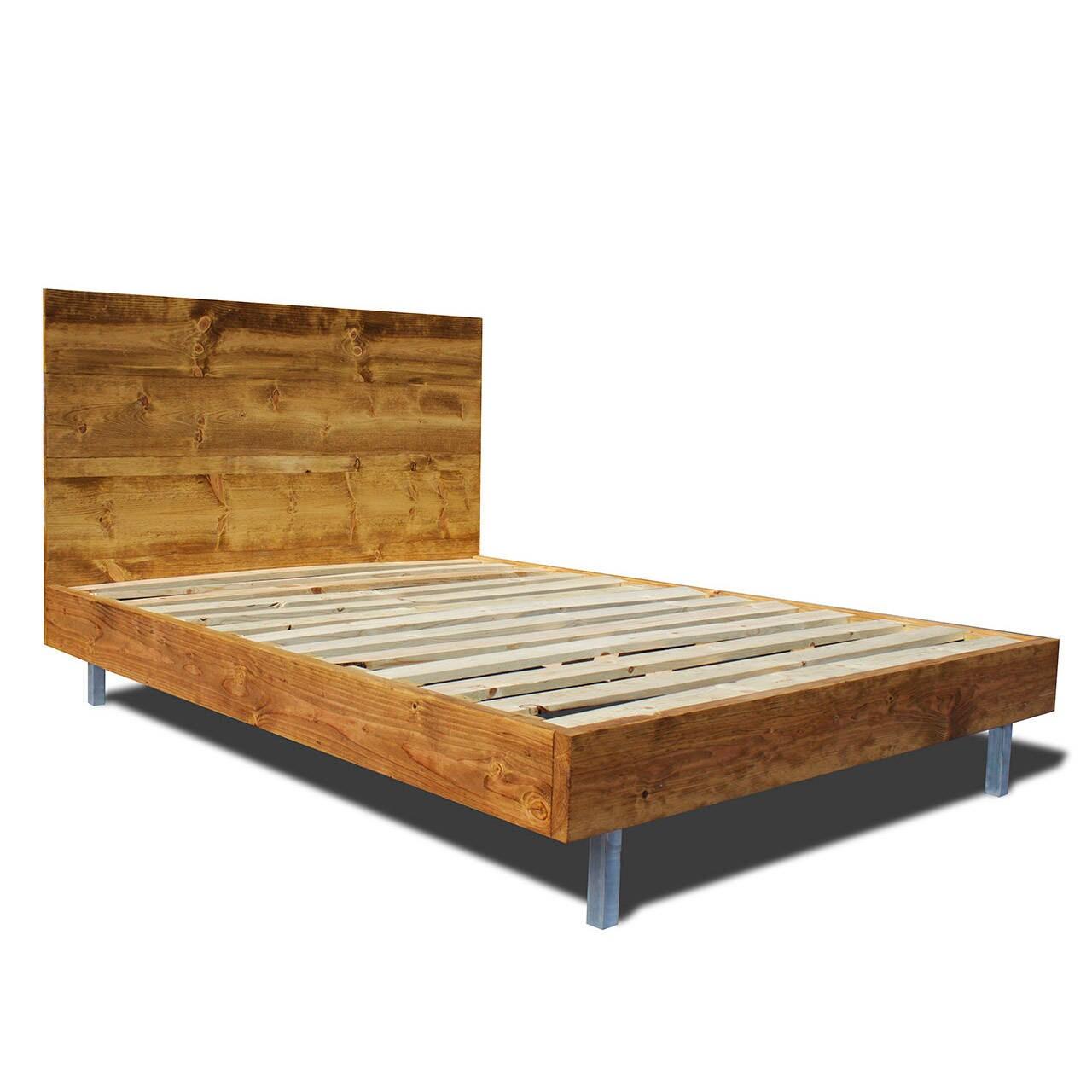 Rustic wood platform bed - Platform Bed Frame And Headboard Set With Metal Legs Modern Bed Frame Modern And
