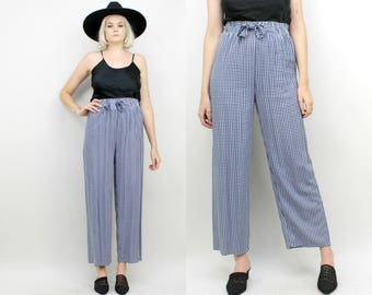 90s High Waisted Rayon Pants, Size Small,Blue and White Checkered Print, Elastic Waist, Slacks, Wide Leg, Straight Leg, Medium, Minimalist