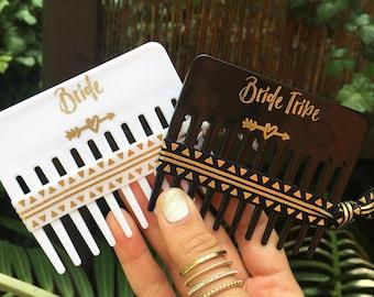 Bachelorette  Favors | Tribal Aztec | Bachelorette Party | Bride Tribe | Bachelorette Hair Ties | Bride Tribe Comb | Flamingo Favors | Gold