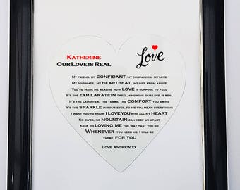 Personalised Framed Love Poem - Our Love is Real
