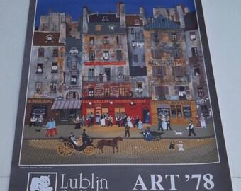 collectible art, vintage 70s print, art exhibit poster, Michel Delacroix art, Paris street scene, primitive naive art, French art poster