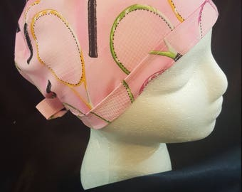 Tennis Time Pink Tie Back Surgical Scrub Hat