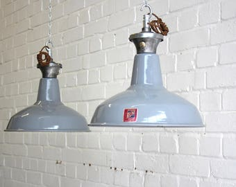 Grey Enamel Industrial Pendant Lights By Benjamin Circa 1950's