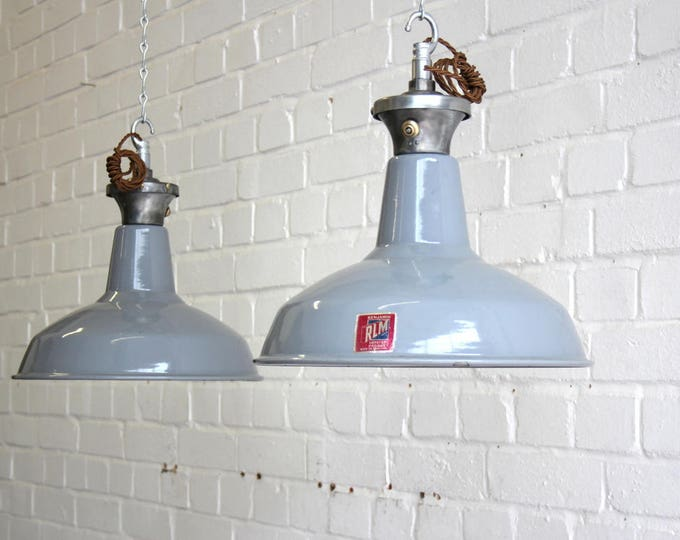 Grey Enamel Industrial Pendant Lights By Benjamin Circa 1950's