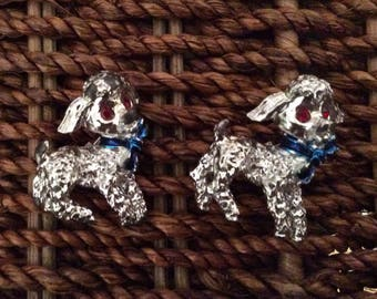 A Pair of Costume Silver Poodle Pins