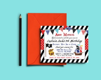Pirate Birthday Invitations- Digital File OR Printed Invites- Pirate Party- Birthday Invites- Pirate Invitations- Pirate Party Invitation