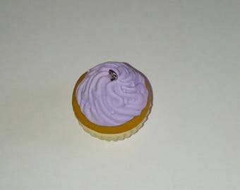 X 1 large Lavender polymer clay cupcake