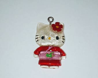 X 1 cat kawaii kimono red/pink