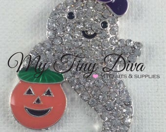 45mm Rhinestone halloween ghost pendant for chunky bubblegum necklace- wholesale beads- chunky necklace- DIY necklace- halloween pendant