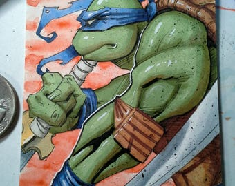 Teenage Mutant Ninja Turtle Sketch Card Leonardo TMNT Original Art by Hutch