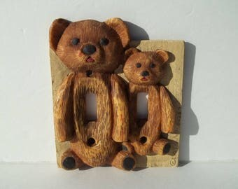 3 D Teddy Bear Switch Plate Cover For The Nursery, Child's Room Or Baby Shower Gift. Signed and Dated