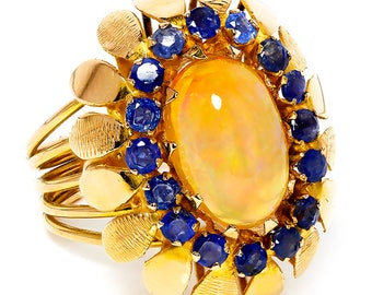 Vintage Oval Opal Ring with Sapphires 18K Yellow Gold October Birthstone 5.67ctw