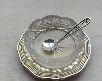Lovely salt dish and silver spoon