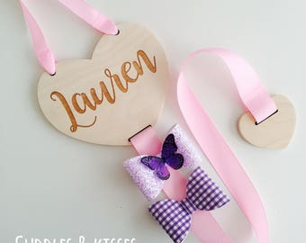 Wooden Engraved Hair Bow Holder