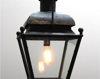 Dutch Colonial Americana Style Pendant Chandelier Aged Bronze Black Shabby Paint