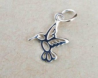 Tiny Sterling Silver Hummingbird Charm, Hummingbird Jewelry, Sterling Silver Charm, Hummingbird Necklace, Bird Charm