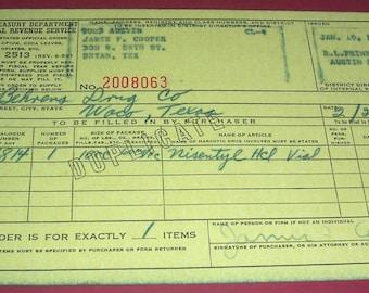 Three 1960 US Treasury opium/coca leaves/opiates order forms