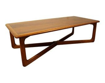 Mid-Century Coffee Table Danish Modern Lane Perception Oak Walnut X-Base Sculpted Table #2