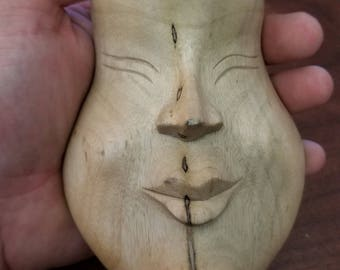"""Hand-Carved Wood Mask from Bali, Indonesia! Wall Art decor! Wood Carving 5"""" (Q7)"""