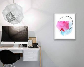 Pink Modern Abstract Art Print. Modern Pink and Blue Art.