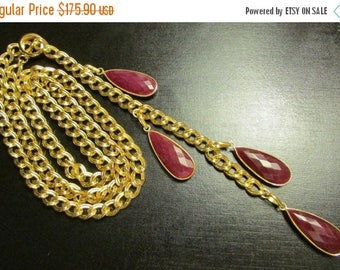 Lariat Necklace, Y Necklace, Lariat Jewelry, Ruby Necklace, Ruby Jewelry, Genuine Ruby, Real Ruby by Josephine's Cotillion