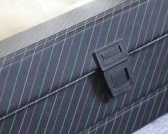 Purple, Green & Black Stripe Cassette Box. Cassette Tape Storage 1980s Cool. Hipster Music Lover Gift.