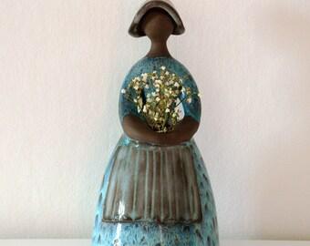 Swedish JIE Gantofta Flower Girl Figurine - Designer Elsi Bourelius