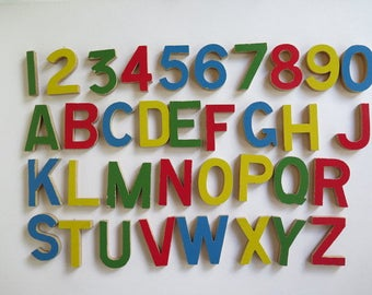 Wooden Letters and Numbers//Vintage Wooden Letters//Wooden Alphabet//Wooden Numbers