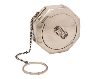 Sterling Art Deco Compact, Loose Powder Rouge Compact Finger Ring Dance Compact Sterling Engraved Nell International Sterling Powder Compact