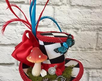 Mad Hatter Mini Top Hat, Alice in wonderland Mini Top Hat, Tea Party Mini Top Hat