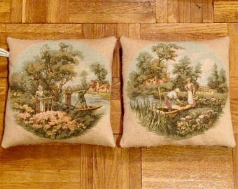 Lot 2 small cushions tapestry old country scene