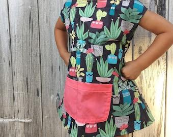 Succulent tunic long top toddler girls - succulent kids clothes - gardening top - succulent dress girls - Palm Springs dress girls