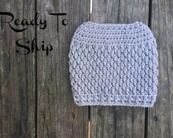 Messy Bun Textured Light Gray Silver Messy Bun Crochet Hat Beanie Women's Crochet Hat Winter Accessories Gifts For Her