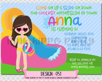 Inflatable Water Slide, Summer, Swim Girl:Design #051-Children's Birthday Invitation, Personalized, Digital, Printable, 4x6 or 5x7 JPG