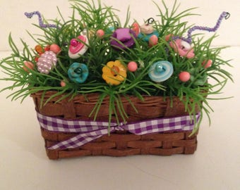 Spring Vintage Button Bokay/Basket/Easter/Country Home Decor