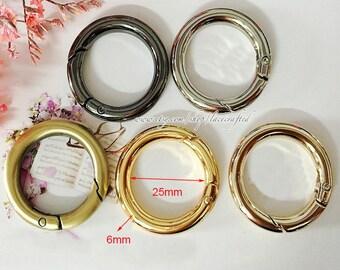 10pcs 2.5cm(inner diameter) Brushed Brass Light Golden silvery Gunmetal round spring gate ring spring ring clasp snap ring spring ring