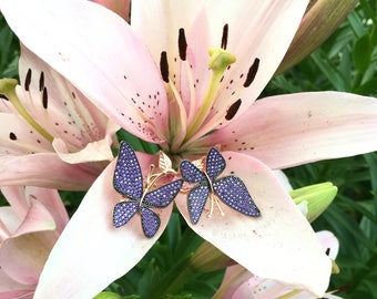 """Silver """"Butterflies"""" ring with zirconias, Colorful ring"""