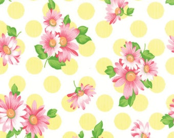 Strawbery Pink Daisies, Lemon Polka Dots, White, Sew and Sew, Chloe's Closet, Moda (By YARD)~