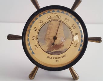 Vintage 1940's ships wheel thermometer Clipper ship, Milk Producers' Inc, advertising, steel and brass
