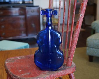"Vintage 8"" Cobalt Blue Glass Violin/Cello Bottle-Vase-Sun Catcher"