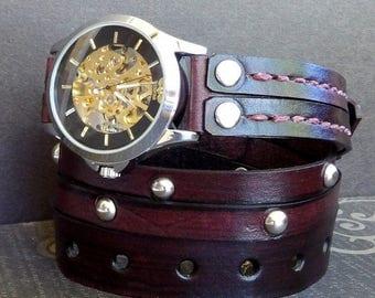 Mahogany Wrap Watch, Leather Watch, Steampunk watch, Men's Wrap watch, Gift, Mechanical Watch, Watch bracelet