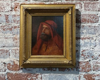 19th century Orientalist -Portrait of an Arab - Oil painting -c.1880s  impressionist Oil painting on Canvas -unsigned