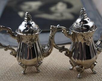 Vintage Godinger Silver Plate Teapot Salt & Pepper Set